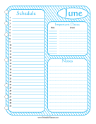 Printable Monthly Planner June
