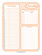 Printable Monthly Planner October