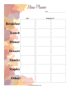 Printable Watercolor Menu Planner